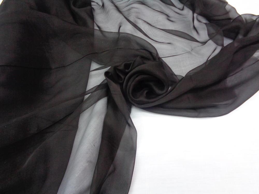 Ολομέταξη σατινέ μουσελίνα 'Black diamond'
