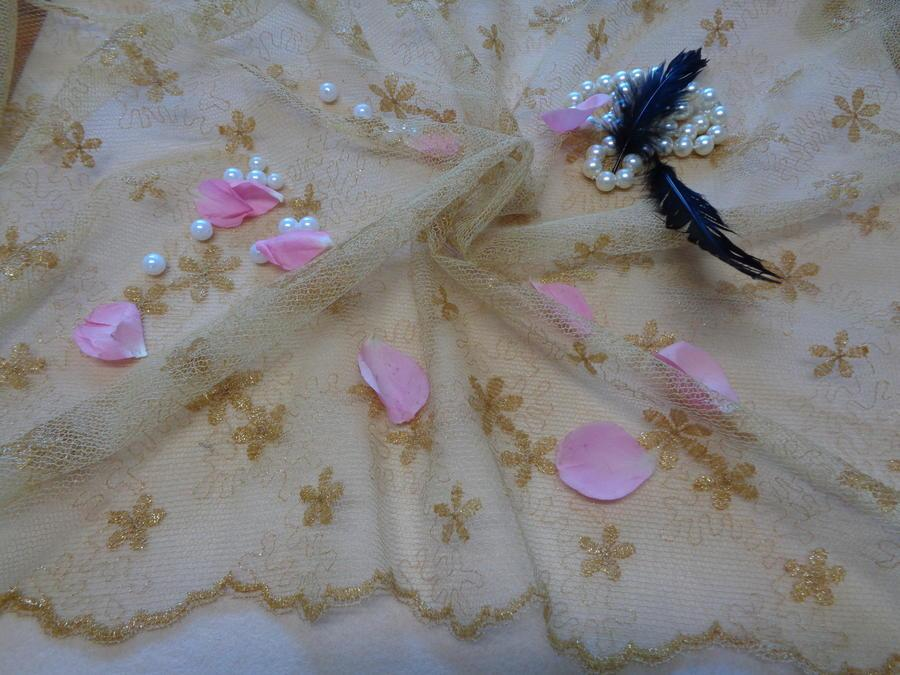 Δαντέλα-τούλι 'Λουλούδια της αυγής'