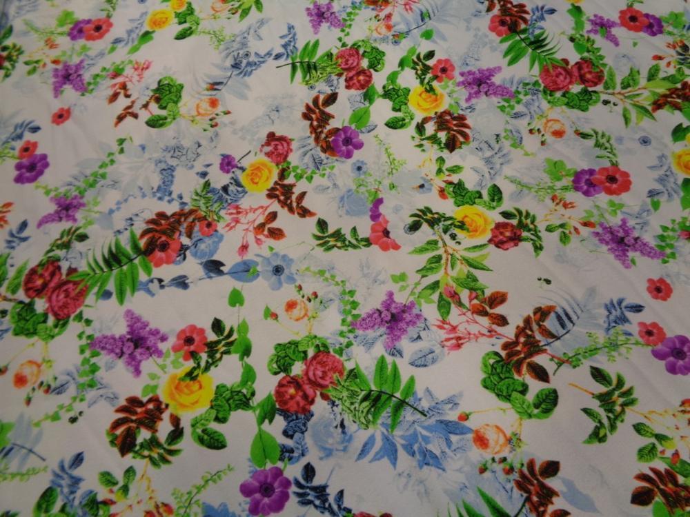 Κρέπ λεπτό 'Salome's flowers' multicolors