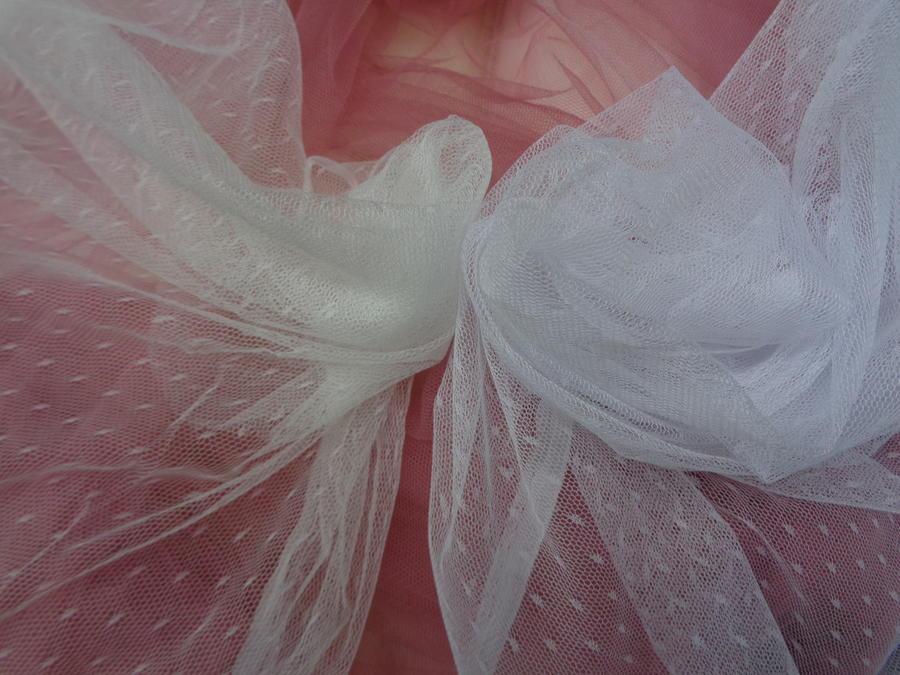 Τούλι σιλικόνης πολυτελείας 'Bride' πουά λευκό